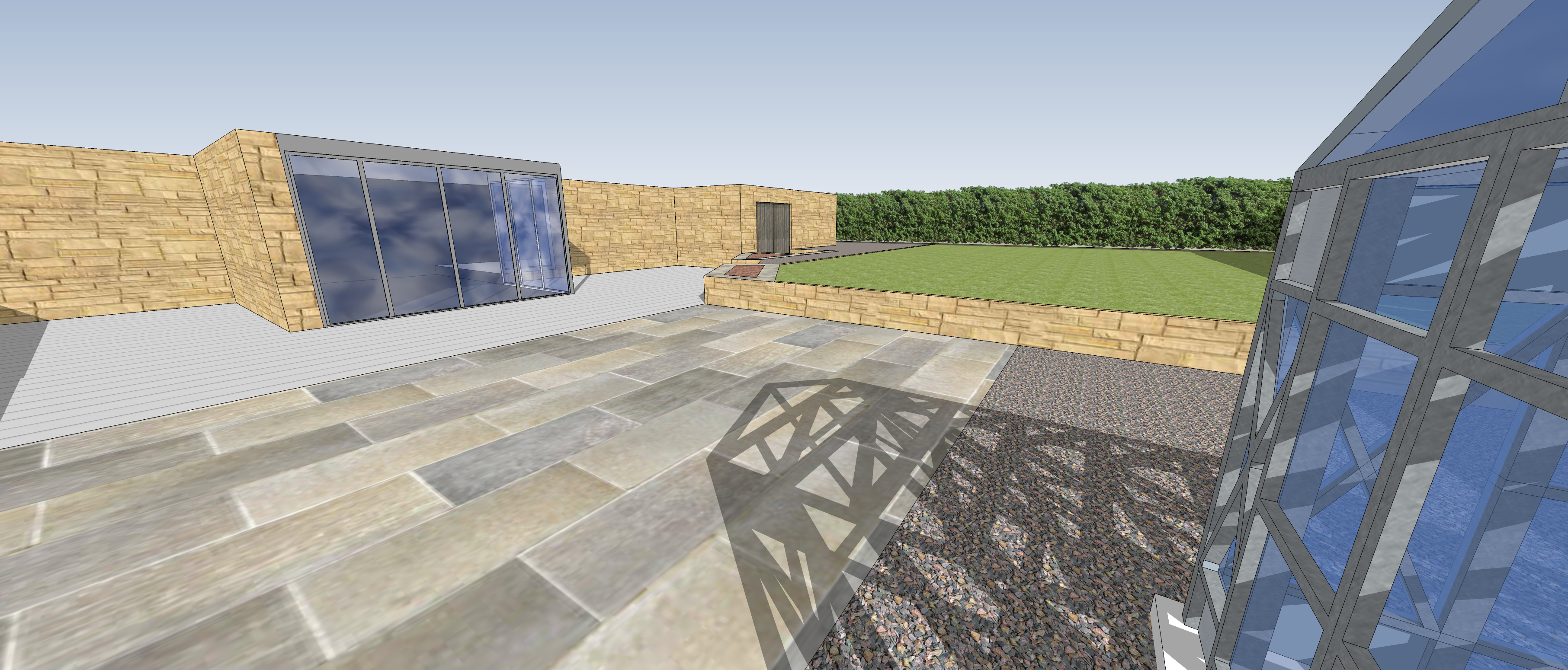 Oliver and Joanna Batten Patio , grass and decking viewed from outside bottom terrace
